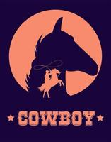 cowboy lettering in wild west poster with cowboy lassoing and horse head vector