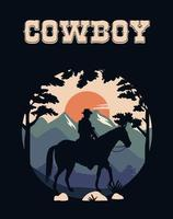 cowboy lettering in wild west scene with cowboy in horse vector