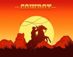 cowboy lettering in wild west scene with cowboy lassoing in horse vector