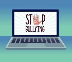 Detener las letras del acoso cibernético y la mano que se detiene en la computadora portátil vector