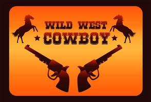 wild west cowboy lettering poster with horses and guns vector
