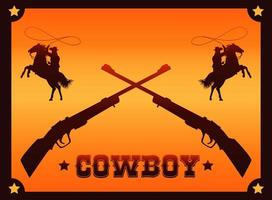 cowboy lettering in wild west poster with cowboys lassoing and rifles vector