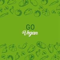 go vegan lettering poster with vegetables frame in green background vector