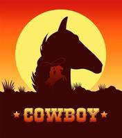 cowboy lettering in wild west scene with cowboy lassoing and head horse vector