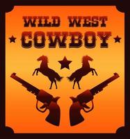 wild west cowboy lettering with horses and guns poster vector