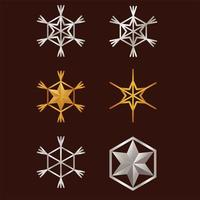 bundle of snowflakes and stars happy merry christmas set icons vector