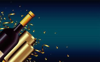 happy new year card with champagne bottle and cups vector