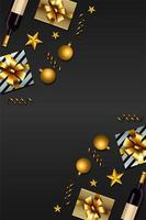 happy new year card with golden and silver gifts vector