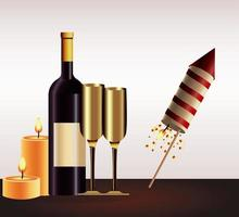 happy new year card with champagne and firework rocket vector