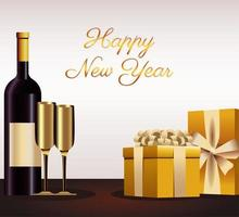 happy new year lettering card with golden gifts and champagne vector