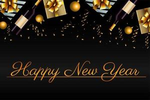 happy new year lettering card with gifts and champagne vector