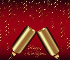 happy new year lettering card with golden champagne cups vector
