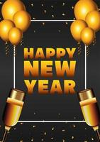 happy new year lettering card with golden champagne cups and balloons helium vector