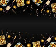 happy new year card with gifts and champagne vector