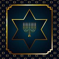 happy hanukkah celebration with golden chandelier and stars in square frame vector