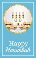 happy hanukkah celebration lettering with golden chandelier and sweet donuts vector