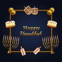 happy hanukkah celebration lettering with set icons in golden frame vector