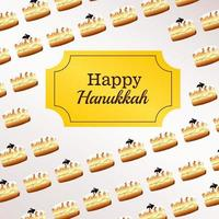 happy hanukkah celebration lettering with frame and donuts pattern vector