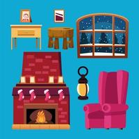 happy merry christmas bundle of house icons vector