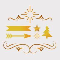 bundle of five happy merry christmas golden icons vector