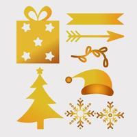 bundle of seven happy merry christmas golden icons vector