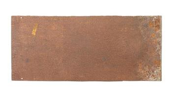 Rusty Metal blank Plate isolated on white background photo