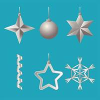 bundle of six silver happy merry christmas set icons vector