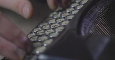 Hands Typing On A Old Typewriter video