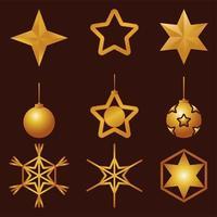 bundle of nine golden stars and balls happy merry christmas set icons vector