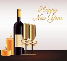 happy new year lettering card with champagne and candles vector