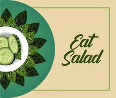 comer ensalada cartel de letras con pepinos en plato y hojas vector