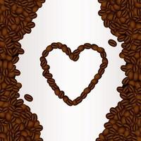 delicious coffee drink poster with heart seeds vector