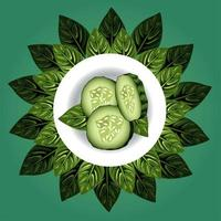 vegetarian healthy food with cucumber in dish and leafs vector