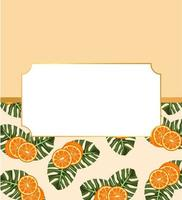citrus fruit poster with oranges and leafs pattern in frame vector