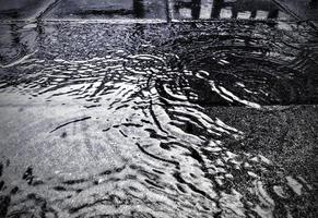 Water on street in rainy day rain season background photo