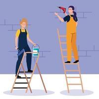 Dibujos animados de mujeres con taladro de construcción y cubo de pintura en diseño vectorial de escalera vector