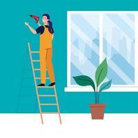 caricatura de mujer con taladro de construcción en el diseño de vectores de escalera