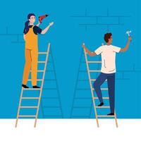 mujer y hombre, con, construcción, martillo, y, taladro, vector, diseño vector