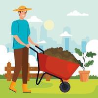 Hombre de jardinería con carretilla y diseño de vectores de plantas