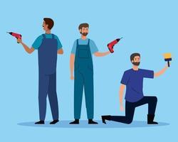 Hombres con taladro de construcción y diseño de vector de pincel