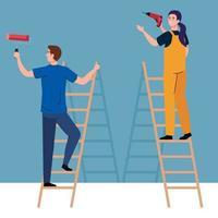 Hombre y mujer con taladro de construcción y rollo de pintura en escaleras de diseño vectorial vector