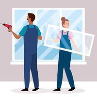 mujer y hombre, con, construcción, taladro, en, ventana, vector, diseño vector