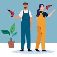 Mujer y hombre con diseño de vector de taladro de construcción