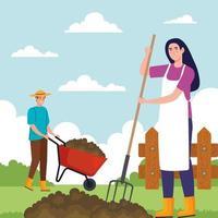 jardinería, hombre y mujer, con, rastrillo, y, carretilla, vector, diseño vector