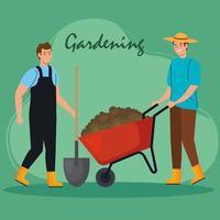 Hombres de jardinería con diseño de vector de pala y carretilla