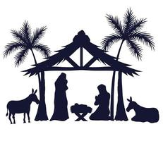 merry christmas and nativity set icons silhouettes vector design