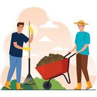 Hombres de jardinería con diseño de vector de rastrillo y carretilla