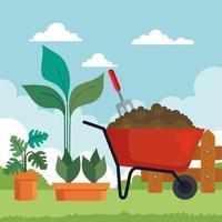 jardinería carretilla y plantas en macetas de diseño vectorial vector