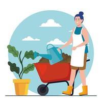 Mujer de jardinería con regadera, planta y diseño de vector de carretilla