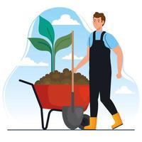 Hombre de jardinería con pala y planta en diseño vectorial de carretilla vector